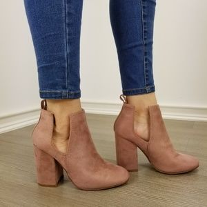 Shoes - Vegan Suede Mauve Cute Ankle Boots Open Sides-EE